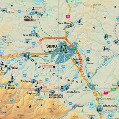 Harta Judetului Sibiu 100 X 70 Cm Sipci Plastic Bnb