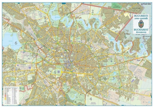Harta Bucuresti Zona Centrala 100 X 70 Cm Sipci Plastic Bnb