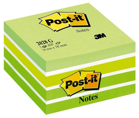 Notite adezive verde pastel cub Post-It 76 x 76 mm 3M