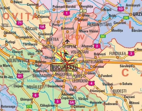 Harta Romania Administrativa 100 X 70 Cm Sipci Plastic Bnb