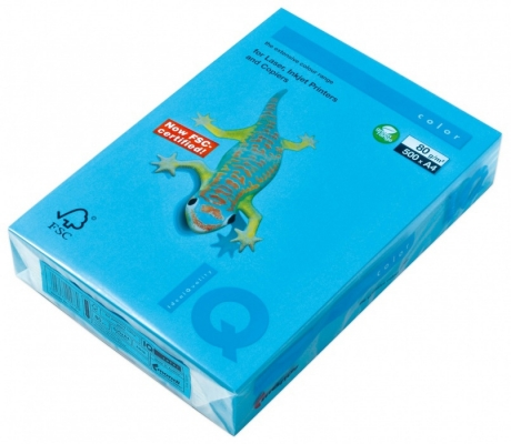 Hartie copiator IQ color intens A4 aqua blue 80 g/mp, 500 coli/top
