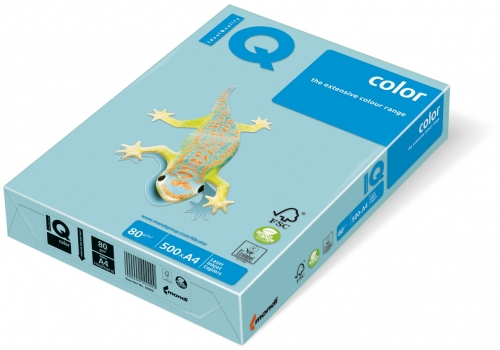 Carton IQ color pastel A4 medium blue 160 g/mp, 250 coli/top