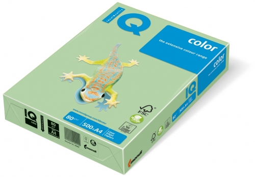 Carton IQ color pastel A4 medium green 160 g/mp, 250 coli/top