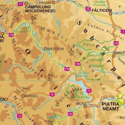 Harta Romania Fizico Geografica Si Harta Contur 160 X 120 Cm Sipci