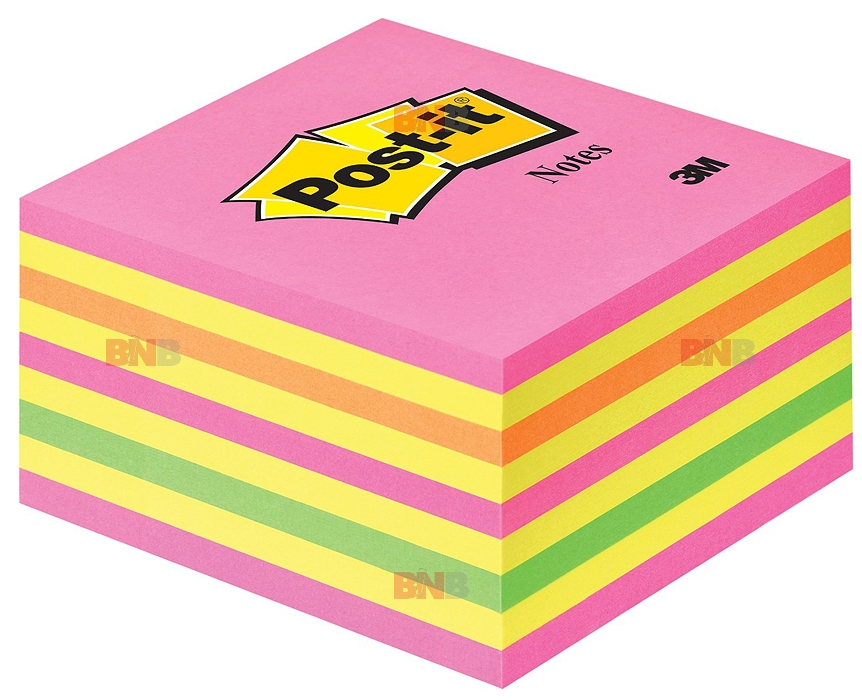 Notite adezive roz-galben cub Post-It 76 x 76 mm 3M