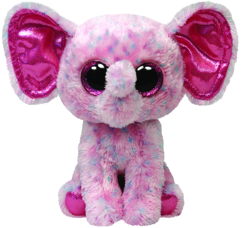 Jucarie Plus 24 cm Beanie Boos Ellie pink speckled elephant TY