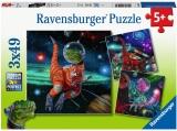Puzzle Dinozauri In Spatiu, 3X49 Piese Ravensburger