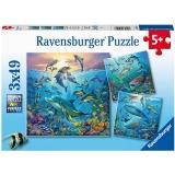 Puzzle Lumea Subacvatica, 3X49 Piese Ravensburger