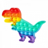 Jucarie senzoriala antistres Pop it Now and Flip it, Push Bubble, 19 x 14 cm, model Dinozaur 5 multicolor