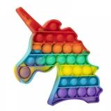 Jucarie senzoriala antistres Pop it Now and Flip it, Push Bubble, 20 cm, model Unicorn multicolor