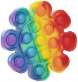 Jucarie senzoriala antistres Pop it Now and Flip it, 13 cm, model Floare multicolora