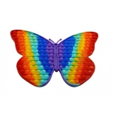 Jucarie senzoriala antistres Pop it Now and Flip it, Push Bubble, 30 cm, model Fluture multicolor