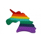 Jucarie senzoriala antistres Pop it Now and Flip it, Push Bubble, 35 cm, model Unicorn multicolor