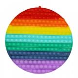 Jucarie senzoriala antistres Pop it Now and Flip it, Push Bubble, 30 cm, model Cerc multicolor
