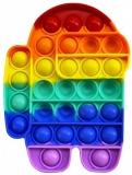 Jucarie senzoriala antistres Pop it Now and Flip it, Push Bubble, 20 cm, model Among Us multicolor