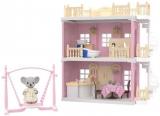 Casa pentru papusi cu baie, bucatarie, figurine si mobilier inclus