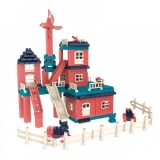 Set constructie casa si curte, 251 piese, multicolor