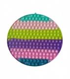 Jucarie senzoriala antistres Pop it Now and Flip it, Push Bubble, 30 cm, model Cerc 2 multicolor