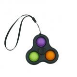 Jucarie senzoriala spinner Flippy- Fidget Toy, Simple Dimple, 7 cm, negru - multicolor