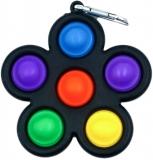 Breloc jucarie Push Pop Bubble Fidget, Pop It, antistres, Floare, multicolor- negru