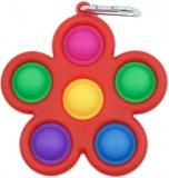 Breloc jucarie Push Pop Bubble Fidget, Pop It, antistres, Floare, multicolor- rosu