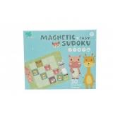 Joc educativ Sudoku cu tablita magnetica si cartonase cu animale, verde