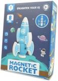 Set inteligent de blocuri magnetice pentru copii, model Racheta albastra