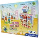 Set inteligent de cuburi magnetice, 10 piese si cutie depozitare, model Parc de Distractii