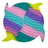 Jucarie senzoriala antistres Pop it Now and Flip it, Push Bubble, 30 cm, XXL, model Delfin Dublu multicolor