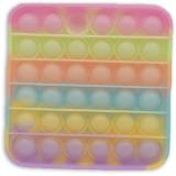 Jucarie senzoriala antistres Pop it Now and Flip it, 13 cm, model Patrat Fosforescent multicolor