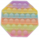 Jucarie senzoriala antistres Pop it Now and Flip it, 13 cm, model Octagon Fosforescent multicolor