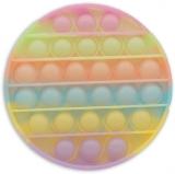 Jucarie senzoriala antistres Pop it Now and Flip it, 12 cm, model Cerc Fosforescent multicolor