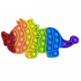 Jucarie senzoriala antistres Pop it Now and Flip it, 23 x 12 cm, model Triceratops multicolor