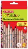 Creioane colorate groase 12 culori Trilino Herlitz