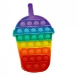 Jucarie senzoriala antistres Pop it Now and Flip it, Push Bubble, 19 cm, model Milkshake multicolor