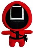 Jucarie de plus Flippy, Squid Game, 23 cm, patrat, rosu
