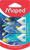 Radiera Cosmic Kids Pyramid, diverse modele, 3 buc/blister Maped
