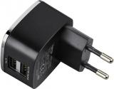 Incarcator retea 2 x USB, negru Hama