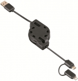 Cablu de date Roll-up 2 in 1, USB Lightning / Micro USB, 1.2 m, negru Hama
