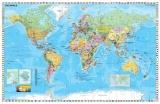 Harta de perete Statele Lumii cu steaguri 140 x 100 cm sipci de lemn