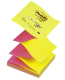 Notite adezive roz-galbene Post-It Z-Notes 76 x 76 mm 3M