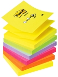 Notite adezive neon curcubeu Post-It Z-Notes 6 buc/set 76 mm x 76 mm, 600 file/cub 3M