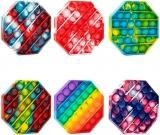 Jucarie senzoriala antistres Pop it Now and Flip it, Push Bubble model octagon multicolor