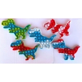 Jucarie senzoriala antistres Pop it Now and Flip it, Push Bubble model dinozaur multicolor