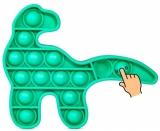 Jucarie senzoriala antistres Pop it Now and Flip it, Push Bubble model dinozaur culori mixte