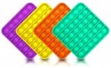Jucarie senzoriala antistres Pop it Now and Flip it, Push Bubble model patrat culori mixte