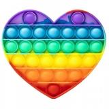 Jucarie senzoriala antistres Pop it Now and Flip it, Push Bubble, 13 x 11 cm, model Inima multicolora