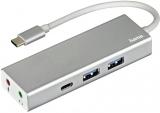 Hub USB 3.1 Type-C 1:3 Aluminiu, 2 x USB-A, USB-C, 3.5 mm audio Hama