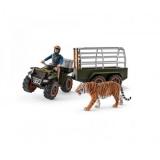Set figurine Schleich - Padurar transportand un tigru cu ATV-ul - SL42351