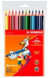 Creioane colorate trio 12 culori Stabilo